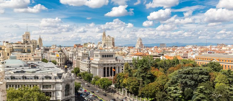Aerial view Plaza de Cibeles in Madrid in a beautiful summer day, Spain_shutterstock_322471106