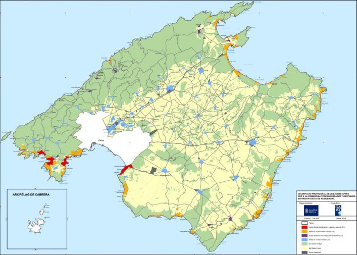 Die Aufteilung von Mallorca in touristische Zonen