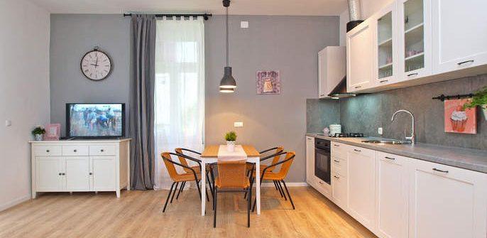 Wohnzimmeransicht des Apartments in Pula