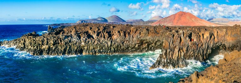 Impressive Los Hervideros lava's caves in Lanzarote island, popular touristic attraction, Canary islands_573601732
