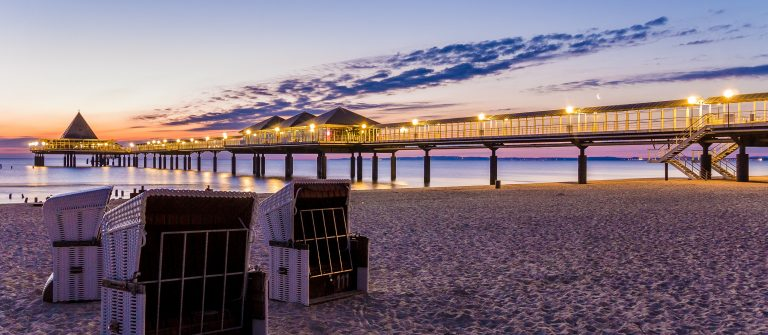 beach chairs on the beach of Heringsdorf, Usedom in Germany