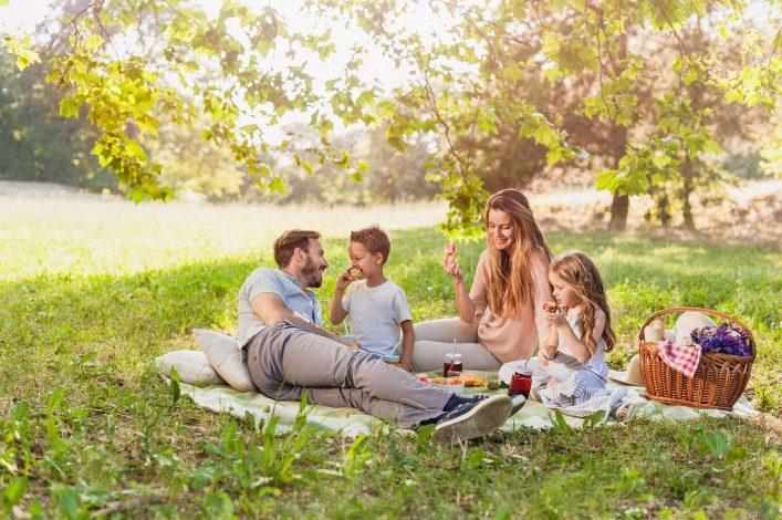 Ein Picknick mit der ganzen Familie