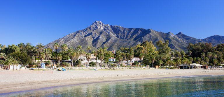 Marbella sandy beach, summer holiday scenery by the Mediterranean Sea in Spain, Andalusia region, Costa del Sol, Malaga province_1920