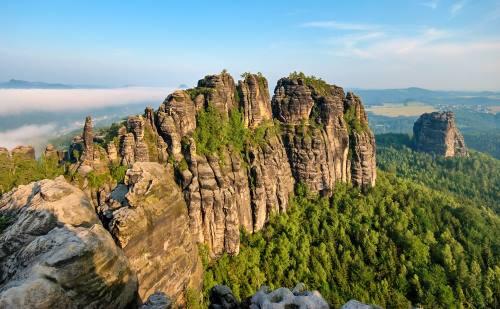 falkenstein and torstein rocks in saxon switzerland, elbsandsteingebirge