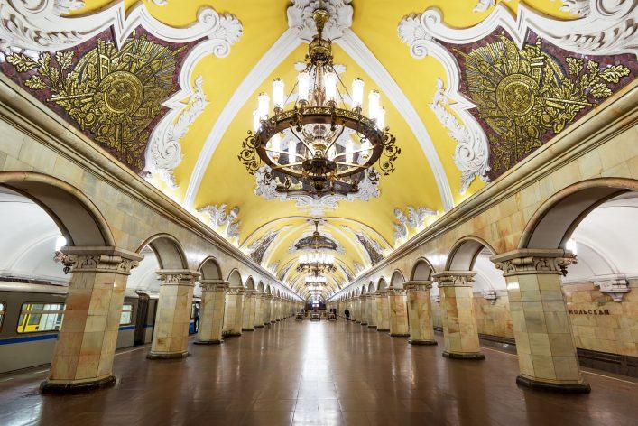 Die Station Komsomolskaja ist die schönste Metro Station in Moskau