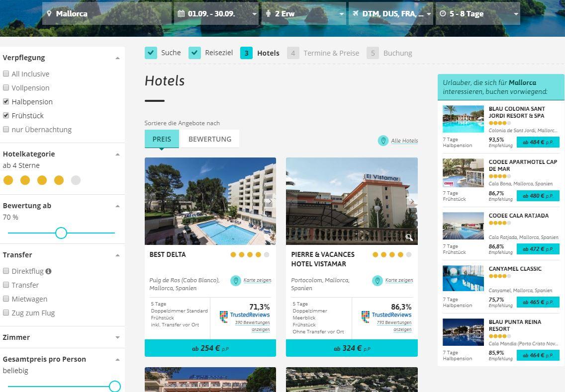Schritt 3 in der Buchungsstrecke: Hotel auswählen