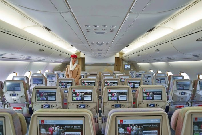 Emirates Airbus A380 Dual Economy Class Cabin