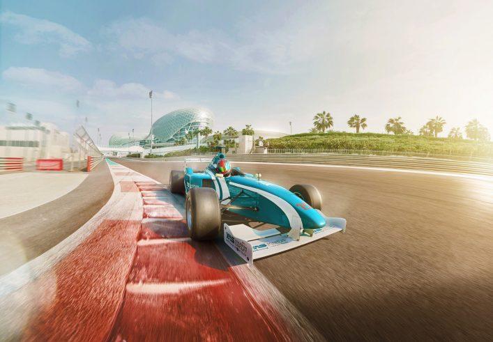 Die Rennbahn Yas Marina Circuit in Abu Dhabi