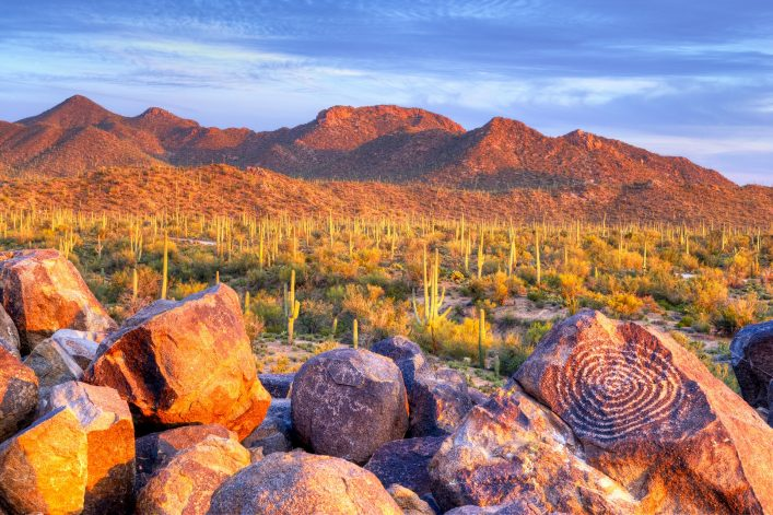 Hohokam Petroglyphs, on Signal Hill in Saguaro National Park, at sunset. shutterstock_275640695